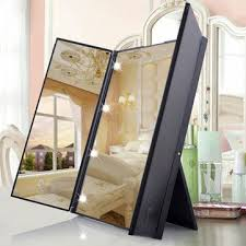 jerdon style euro design tri fold lighted mirror luckyfine tri fold led lighted mirrors makeup vanity wide view