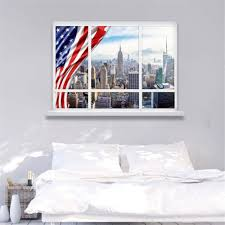creative american style fake window 3d wall stickers lifelike usa creative american style fake window 3d wall stickers lifelike usa false window living room bar wall sticker mural art 50 70cm in wall stickers from home