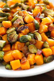 Bacon Main Dishes - maple soy glazed roasted brussels sprouts and butternut squash