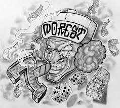 smoking clown head with dice and money tattoo design evil clown