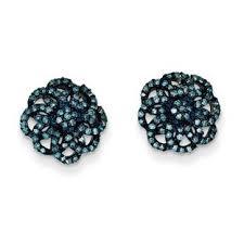 blue diamond stud earrings 1 2 carat blue diamond stud earrings in sterling silver