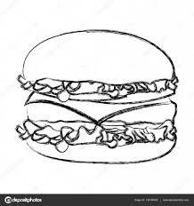 monochrome sketch with big burger u2014 stock vector grgroupstock