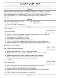 Instructor Resume Example by Instructor Cv Example For Education Livecareer