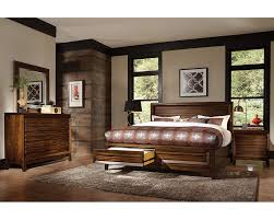 Cavallino Mansion Bedroom Set Bedroom Set W Panel Storage Bed Walnut Park Asi05 412sset