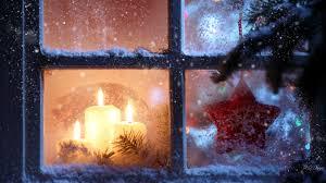 winter light window candles christmas fir star flame snow holiday