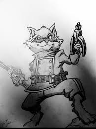 rocket raccoon pencil sketch by tyleroch on deviantart