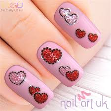 heart adhesive nail stickers nail art uk