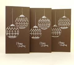 brown christmas cards set of 3 christmas cards christmas baubles season s greetings card