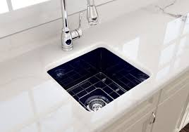 kitchen cabinet sink used bocchi sotto undermount fireclay 18 in single bowl kitchen sink with protective bottom grid and strainer in sapphire blue