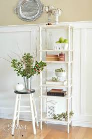farmhouse etagere bookcase from repurposed tiered tables the