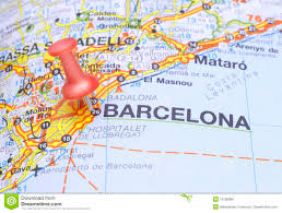 Map Of Spain by Destination Barcelona On The Map Of Spain Royalty Free Stock