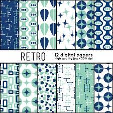 retro shapes 12 digital papers pattern set scrapbook blog