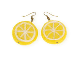 felt earrings lemon earrings with felt slices yellow fruit jewelry