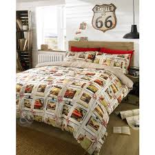 Childrens Duvet Covers Double Bed Vintage American Duvet Cover Retro Route 66 Cream Brown Red
