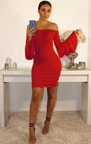 red bardot bell sleeve bodycon dress