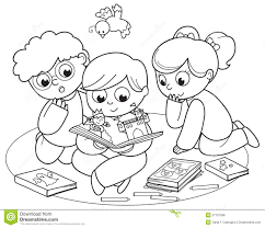 three kids reading a pop up book royalty free stock photos image
