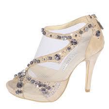 wedding shoes mid heel mid heel peep toes rhinestone zipper chagne wedding shoes