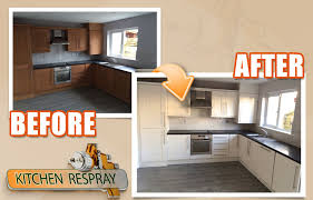 respray kitchen cabinets spray painting vs hand painting your kitchen resurface my