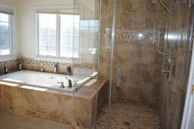 glass shower cabin partition wall ceramic flooring tile bathtub