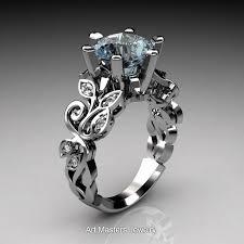 aquamarine diamond ring nature inspired 950 platinum 3 0 ct aquamarine diamond leaf and