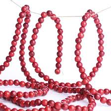 burgundy and cranberry wooden bead garland