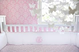 white pique with pink crib baby bedding by new arrivals