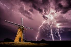 Windmills Lightning Storm Clouds Night Electricity Nature