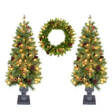 Home Accents Outdoor Christmas Decorations Home Accent Holiday Double 4 Ft Pot Tree Artificial Christmas