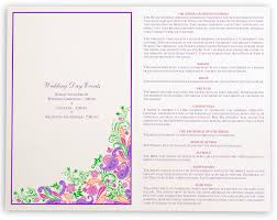 Wedding Invitation Hindu Ganesh Purple Indian Wedding Ceremony Booklet With Colorful Paisley Design