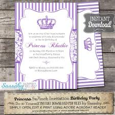 1st birthday princess invitation princess purple party invitation instant download editable