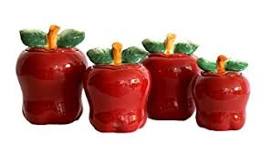 Apple Home Decor Amazon Com Set Of 4 Apple Shaped Red Ceramic Canisters Country