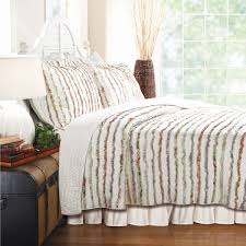 Duvet 100 Cotton Full Queen 100 Cotton Quilt Set Ruffled Multi Color Stripes