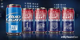 bud light in the can the new york giants super bowl edition bud light nfl can food