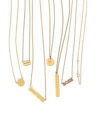 monogrammed gold necklace cara 14k gold monogrammed necklace