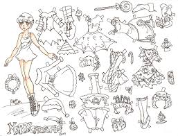 miss missy paper dolls christmas card uncolored