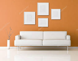 White Sofas In Living Rooms White Sofa In A Orange Living Room U2014 Stock Photo Archideaphoto