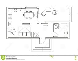 house plan linear architectural sketch plan studio house stock