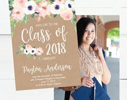 graduation announcment floral graduation etsy