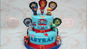 paw patrol 2 layers birthday cake membuat kue