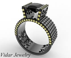 black diamonds rings images Black gold princess cut black diamond ring vidar jewelry jpg