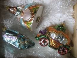 cinderella set of three polonaise ornaments in wood crate wood