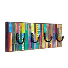 wall coat rack mosaic handmade paper vertical colorful stripes