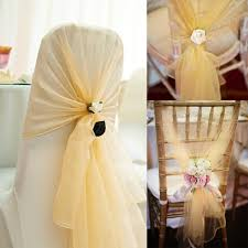 diy wedding chair covers 10pcs 26x108 organza fabric chair hoods chair caps wrap tie back