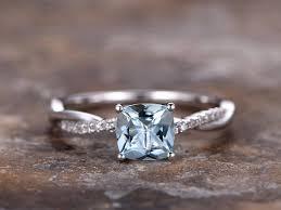 deco wedding band 6mm cushion cut aquamarine engagement ring 925 sterling silver