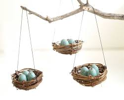 Blue Bird Home Decor Christmas Ornaments Nest Blue Robins Eggs Tree Decorations