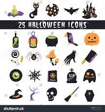 halloween scariest stories halloween icons set flat icons halloween stock vector 216528301