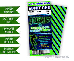 trampoline invitations jump birthday ticket invitations jump vip invitation neon