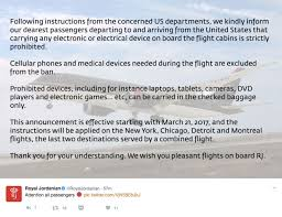 United Check Bag Policy by U S Bans All Electronics Larger Than A Cellphone On 9 Airlines