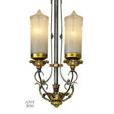 Art Deco Ceiling Lamp 1920s Art Deco Candle Style 2 Light Pendant Ceiling Fixture Ant