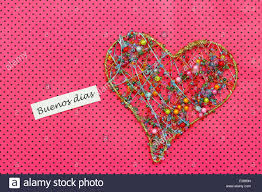 buenos dias which means good morning in spanish card with heart